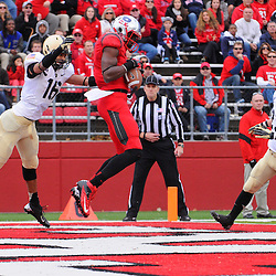 10 November 2012: Rutgers Scarlet Knights wide receiver Brandon Coleman (17) catches a touchdown against Army Black Knights defensive back Marques Avery (16) during NCAA college football action between the Rutgers Scarlet Knights and Army Black Knights at High Point Solutions Stadium in Piscataway, N.J..