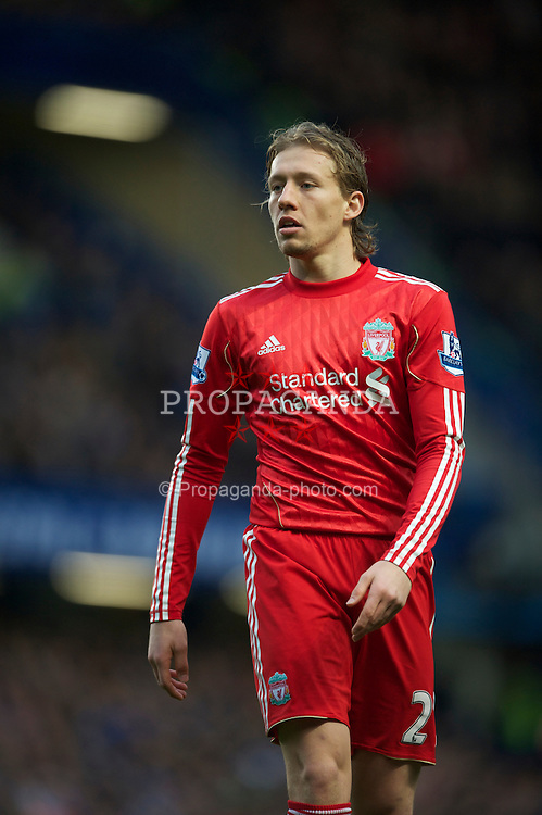 LONDON, ENGLAND - Sunday, February 6, 2011: Liverpool's Lucas Leiva in action against Chelsea during the Premiership match at Stamford Bridge. (Photo by Chris Brunskill/Propaganda)