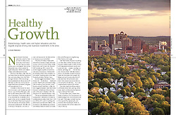 Tearsheet from USAir In Flight Magazine October 2008. Photographed for Pace Communications, Designers. New Haven Skyline View. One Page.