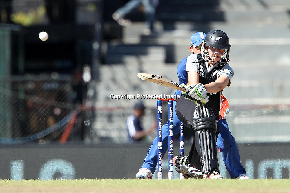 Amy Satterthwaite during the ICC Women's World Twenty20 Semi final match between England and New Zealand held at the Premadasa Stadium in Colombo, Sri Lanka on the 4th October  2012<br /> <br /> Photo by Ron Gaunt/SPORTZPICS/PHOTOSPORT