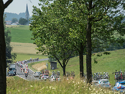 06.07.2015, Litschau, AUT, Österreich Radrundfahrt, 2. Etappe, Litschau nach Grieskirchen, im Bild Das Hauptfeld Bad Leonfelden/OÖ // maingroup in Bad Leonfelden during the Tour of Austria, 2nd Stage, from Litschau to Grieskirchens, Litschau, Austria on 2015/07/06. EXPA Pictures © 2015, PhotoCredit: EXPA/ Reinhard Eisenbauer