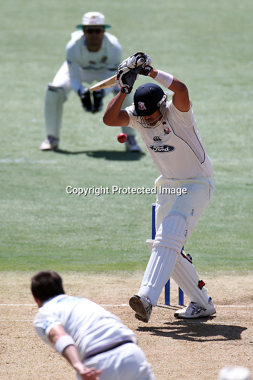 Daryl Tuffey leaves the ball. Day one of the Plunket Shield cricket - Auckland Aces v Northern Knights at Colin Maiden Park, Auckland, New Zealand on Thursday, 24 February 2011. Photo: Ella Brockelsby / photosport.co.nz