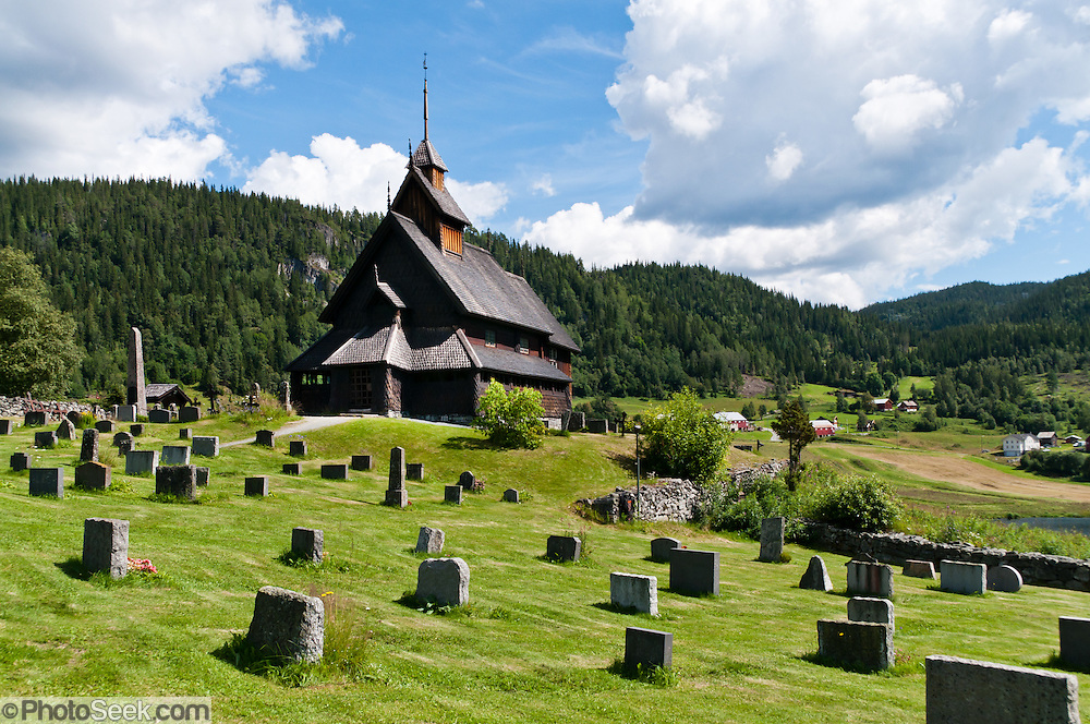 The 14th century Eidsborg Stave Church (stavkirke) in Dalen, Norway, was dedicated to Saint Nicolas and is one of the best preserved Norwegian stave churches.