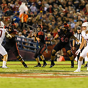 16September 2017: San Diego State Aztecs quarterback Christian Chapman (10) drops back to pass in the second quarter. The Aztecs lead Stanford 10-7 at half time at San Diego Stadium. <br /> www.sdsuaztecphotos.com