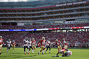 San Francisco 49ers cornerback Dontae Johnson (36) tackles Houston Texans wide receiver Will Fuller (15) during a punt return at Levi's Stadium in Santa Clara, Calif., on August 14, 2016. (Stan Olszewski/Special to S.F. Examiner)