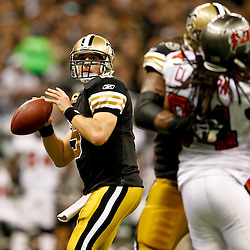 November 6, 2011; New Orleans, LA, USA; New Orleans Saints quarterback Drew Brees (9) against the Tampa Bay Buccaneers during the second half of a game at the Mercedes-Benz Superdome. The Saints defeated the Buccaneers 27-16. Mandatory Credit: Derick E. Hingle-US PRESSWIRE