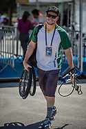 Tyrone Jones (Team RSA) arriving on race day at the 2018 UCI BMX World Championships in Baku, Azerbaijan.