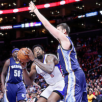 23 February 2015: Memphis Grizzlies center Marc Gasol (33) defends on Los Angeles Clippers center DeAndre Jordan (6) during the Memphis Grizzlies 90-87 victory over the Los Angeles Clippers, at the Staples Center, Los Angeles, California, USA.