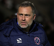 Dagenham Manager Wayne Burnett during the Sky Bet League 2 match between Morecambe and Dagenham and Redbridge at the Globe Arena, Morecambe, England on 1 December 2015. Photo by Pete Burns.
