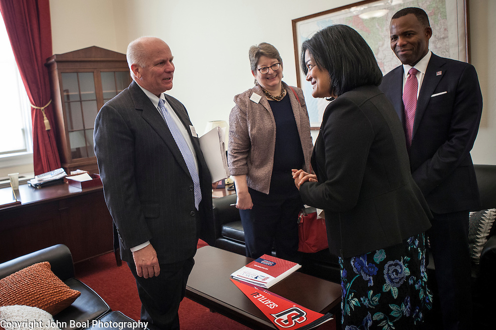 Representative Pramila Jayapal (D-WA, 7), finishes a meeting with Larry Probus, left, Violet Boyer and Isiaah Crawford, of the National Association of Independent Colleges and Universities, on Tuesday, January 31, 2017.  The meeting was one of four 30-minute meetings with constituent advocacy groups during the day.  John Boal photo/for The Stranger Representative Pramila Jayapal (D-WA, 7), finishes a meeting with Larry Probus, left, Violet Boyer and Isiaah Crawford, of the National Association of Independent Colleges and Universities, on Tuesday, January 31, 2017.  The meeting was one of four 30-minute meetings with constituent advocacy groups during the day.  John Boal photo/for The Stranger