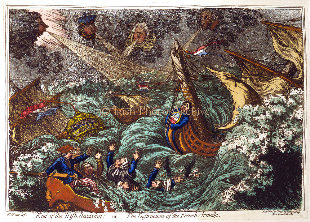 End of the Irish Invasion - or -  The Destruction of the French Armada', James Gillray 1797. French ships wrecked in storm blown up by Pitt , top left and his ministers. Charles James Fox and his Opposition allies in danger of drowning.