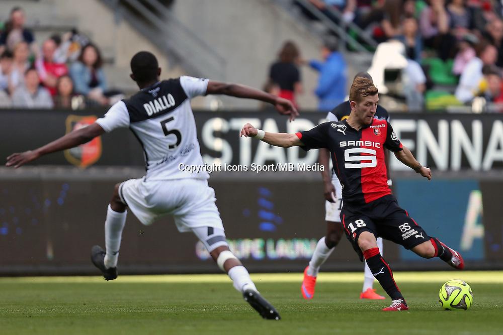 Pedro HENRIQUE / Moustapha DIALLO - 12.04.2015 - Rennes / Guingamp - 32eme journee de Ligue 1 <br />Photo : Vincent Michel / Icon Sport
