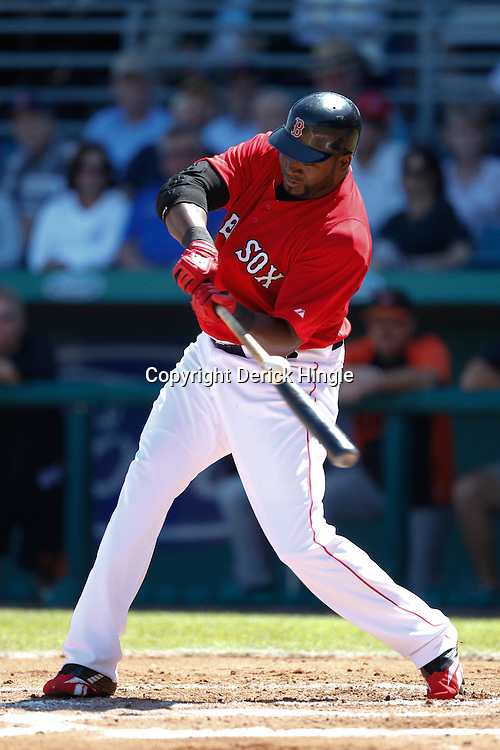 March 7, 2011; Fort Myers, FL, USA; Boston Red Sox first baseman David Ortiz (34) during a spring training exhibition game against the Baltimore Orioles at City of Palms Park.   Mandatory Credit: Derick E. Hingle