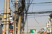 Tangled Electrical Wires in City