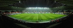 SWANSEA, WALES - Wednesday, January 23, 2013: A panoramic shot of Swansea City's Liberty Stadium as snow falls before the Football League Cup Semi-Final 2nd Leg match against Chelsea. (Pic by David Rawcliffe/Propaganda)