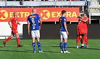Fotball Menn Eliteserien Ranheim-Brann<br /> Extra Arena, Ranheim<br /> 4 august 2019<br /> <br /> <br /> Bamba har scoret 0-1 for Brann og blir gratulert av Veton Berisha (H). Ranheims Øyvind Alseth (5) og Magnus Blakstad depper. <br /> <br /> <br /> <br /> Foto : Arve Johnsen, Digitalsport