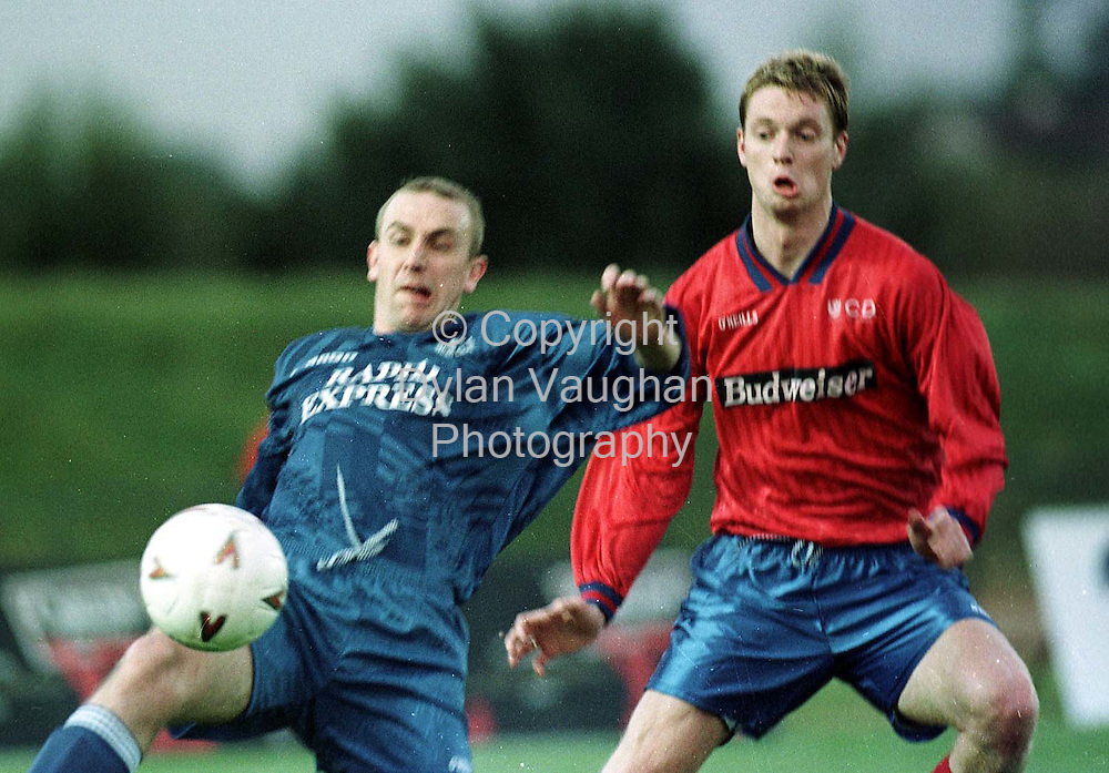 28/8/98 EXAMINER SPORT.WATERFORDS PADRAIG DUULY LEFT PICTURED IN ACTION WITH UCD TONY MCDONNELL AT LAST NIGHTS MATCH IN WATERFORD.PICTURE DYLAN VAUGHAN