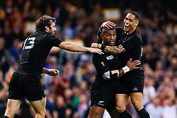 New Zealand Winger Waisake Naholo (C) celebrates scoring a try - Mandatory byline: Rogan Thomson/JMP - 07966 386802 - 02/10/2015 - RUGBY UNION - Millennium Stadium - Cardiff, Wales - New Zealand v Georgia - Rugby World Cup 2015 Pool C.