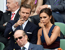 Image licensed to i-Images Picture Agency. 06/07/2014. London, United Kingdom. David and Victoria Beckham in the Royal Box  at the Wimbledon Men's Final.  Picture by Andrew Parsons / i-Images