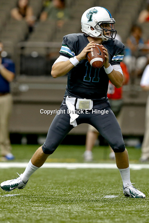 Sep 7, 2013; New Orleans, LA, USA; Tulane Green Wave quarterback Nick Montana (11) during the second quarter of a game against the South Alabama Jaguars at the Mercedes-Benz Superdome. Mandatory Credit: Derick E. Hingle-USA TODAY Sports
