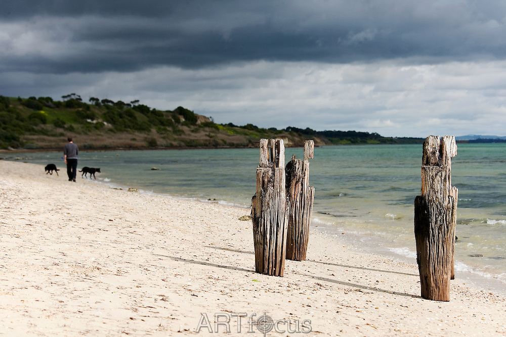 remains of pier and beach at Clifton Springs on the Bellarine Peninsula