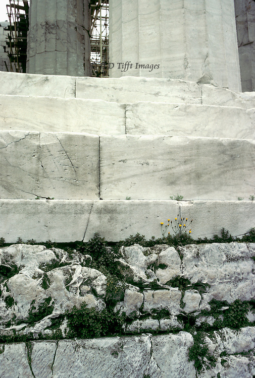Acropolis, Parthenon: details of temple base and substructure, weeds growing in between the stones..