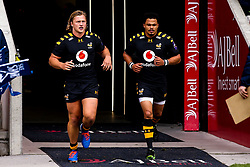 Tommy Taylor of Wasps and Juan de Jongh of Wasps lead out the side at Sale Sharks for their 50th appearances - Mandatory by-line: Robbie Stephenson/JMP - 05/10/2019 - RUGBY - AJ Bell Stadium - Manchester, England - Sale Sharks v Wasps - Premiership Rugby Cup
