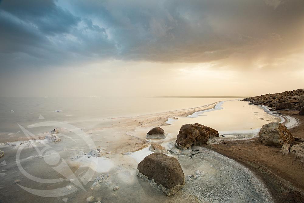 Sunset at a salt lake in Turkey. Horizontal version.