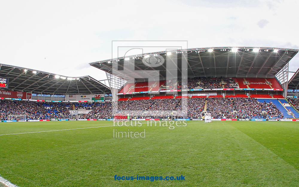 The Remembrance service before the Cardiff City and Leeds United Sky Bet Championship match at the Cardiff City Stadium, Cardiff<br /> Picture by Mike  Griffiths/Focus Images Ltd +44 7766 223933<br /> 01/11/2014