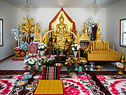 14 APRIL 2019 - DES MOINES, IOWA: The main Buddha statue in the ordination hall at Wat Lao Buddhavath in Des Moines. Several thousand Lao people live in Des Moines. Most came to the US after the wars in Southeast Asia.       PHOTO BY JACK KURTZ