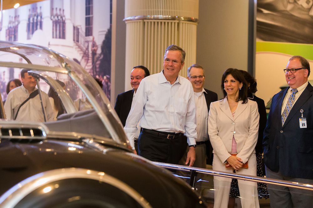 The Henry Ford president Patricia Mooradian giving a tour to Jeb Bush on a recent visit to Detroit.  Photographed for The Henry Ford by PR photographer KMS Photography