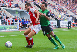 Duane Holmes of Scunthorpe United pushes Joe Mattock of Rotherham United - Mandatory by-line: Ryan Crockett/JMP - 14/10/2017 - FOOTBALL - Aesseal New York Stadium - Rotherham, England - Rotherham United v Scunthorpe United - Sky Bet League One