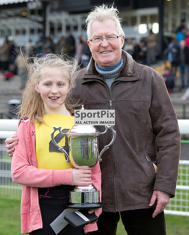 146th New Year Sprint 31 December 2014; Amy Campbell of Hawick, winner of the Pat Mulgrew 90 meters Youths Handicap race at Musselburgh Racecourse, Musselburgh;