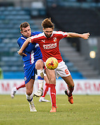 Swindon defender Jordan Turnbull on the ball during the Sky Bet League 1 match between Gillingham and Swindon Town at the MEMS Priestfield Stadium, Gillingham, England on 6 February 2016. Photo by David Charbit.