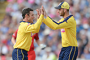 Will Smith and James Vince during the NatWest T20 Blast Semi Final match between Hampshire County Cricket Club and Lancashire County Cricket Club at Edgbaston, Birmingham, United Kingdom on 29 August 2015. Photo by David Vokes.