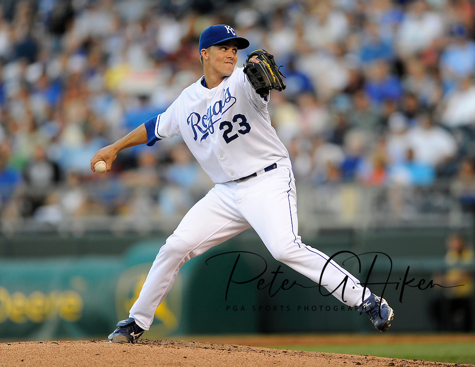 Starting pitcher Zack Greinke #23 of the Kansas City Royals delivers a pitch during a game against the Chicago White Sox at Kauffman Stadium in Kansas City, Missouri.
