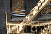 sunlit old fire escape