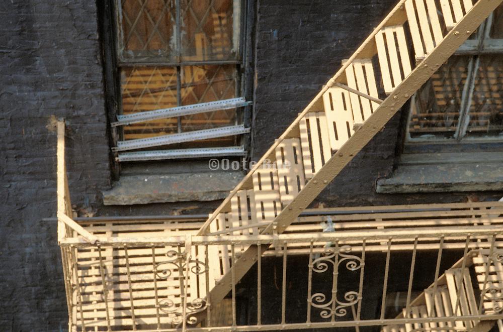 sunlit old fire escape