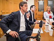 22 AUGUST 2019 - DES MOINES, IOWA: BETO O'ROURKE (D-TX), hosts a gun safety roundtable in the Iowa State Capitol in Des Moines. He is back on the campaign trail seeking the Democratic nomination for the US Presidency after pausing his campaign when a white supremacist massacred 22 people in El Paso, TX, O'Rourke's hometown. Iowa traditionally hosts the first selection event of the presidential election cycle. The Iowa Caucuses are Feb. 3, 2020.       PHOTO BY JACK KURTZ