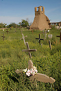 Old indian cemetory with a lot of graveyards in the pueblo Hacienda Martinez, New Mexico