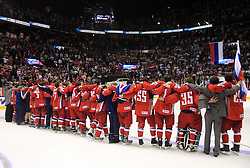 Russian singing a  national hymn at  ice-hockey game Canada vs Russia at finals of IIHF WC 2008 in Quebec City,  on May 18, 2008, in Colisee Pepsi, Quebec City, Quebec, Canada. Win of Russia 5:4. (Photo by Vid Ponikvar / Sportal Images)