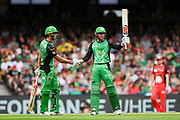 17th February 2019, Marvel Stadium, Melbourne, Australia; Australian Big Bash Cricket League Final, Melbourne Renegades versus Melbourne Stars; Ben Dunk of the Melbourne Stars celebrates his half century