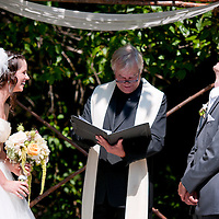 Dan and Lisa during their wedding ceremony at the Brew Creek Lodge in Whistler, British Columbia.