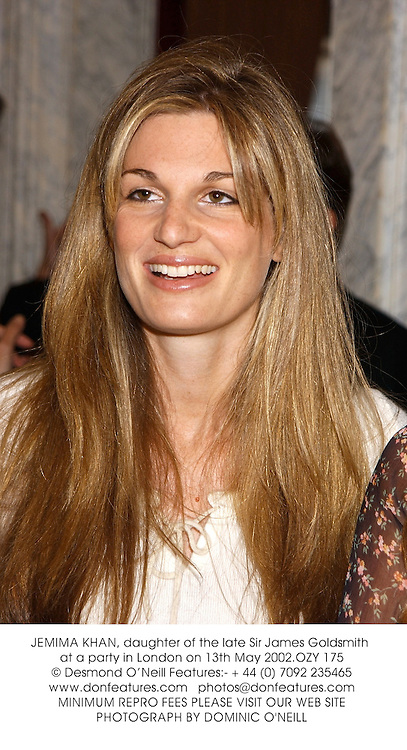 JEMIMA KHAN, daughter of the late Sir James Goldsmith at a party in London on 13th May 2002.OZY 175