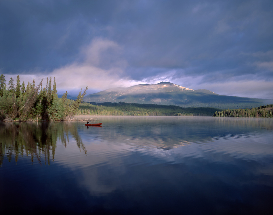 Canoe on Clearwater Lake, Chilcotin Country, Rocky Mountains, British Columbia, Canada