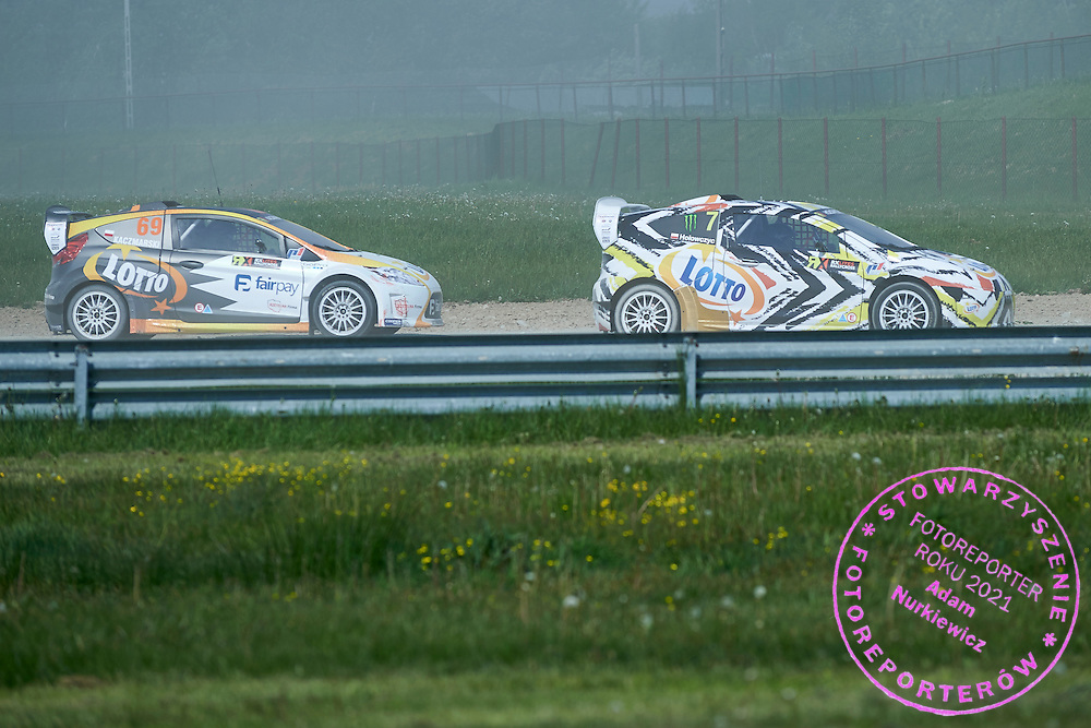 (L) Martin Kaczmarski and (R) Krzysztof Holowczyc both from Poland drive their cars rally cross RX Lites during training session on rally cross track on May 19, 2015 in Slomczyn, Poland<br /> <br /> Poland, Slomczyn, May 19, 2015<br /> <br /> Picture also available in RAW (NEF) or TIFF format on special request.<br /> <br /> For editorial use only. Any commercial or promotional use requires permission.<br /> <br /> Adam Nurkiewicz declares that he has no rights to the image of people at the photographs of his authorship.<br /> <br /> Mandatory credit:<br /> Photo by &copy; Adam Nurkiewicz / Mediasport
