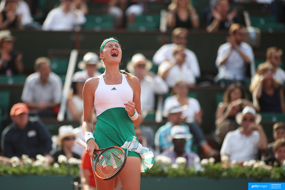 2017 French Open Tennis Tournament - Day Two.  Kristina Mladenovic of France reacts to winning a point during her victory against Jennifer Brady of the United States on Court Philippe-Chatrier during the women's Singles Round one match at the 2017 French Open Tennis Tournament at Roland Garros on May 29th, 2017 in Paris, France.  (Photo by Tim Clayton/Corbis via Getty Images)