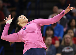 October 7, 2018 - Tucson, AZ, U.S. - TUCSON, AZ - OCTOBER 07: Arizona Wildcats outside hitter Kendra Dahlke (8) hits the ball during a college volleyball game between the Arizona Wildcats and the Washington State Cougars on October 07, 2018, at McKale Center in Tucson, AZ. Washington State defeated Arizona 3-2. (Photo by Jacob Snow/Icon Sportswire) (Credit Image: © Jacob Snow/Icon SMI via ZUMA Press)