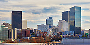 View of the ferris wheel at Centennial Olympic Park and buildings in downtown Atlanta