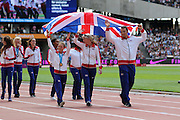 Great Britain's Junior Athletics Team during the Sainsbury's Anniversary Games at the Queen Elizabeth II Olympic Park, London, United Kingdom on 25th July 2015. Photo by Ellie Hoad.